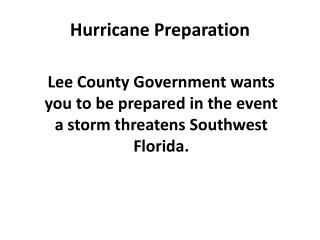 Hurricane Preparation