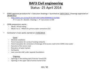 BAF3 Civil engineering Status  -25 April 2014