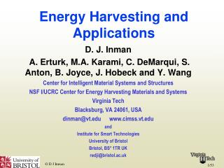 Energy Harvesting and Applications