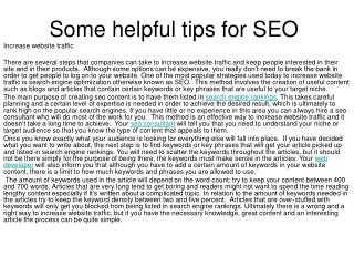 Some helpful tips for SEO
