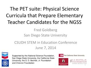 The PET suite: Physical Science Curricula that Prepare Elementary Teacher Candidates for the NGSS