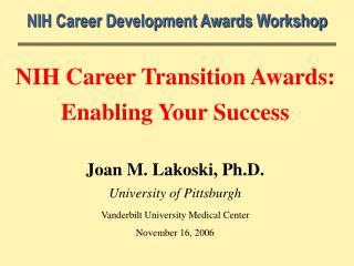 NIH Career Development Awards Workshop