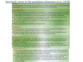Key study: stress in the workplace Johansson et al. (1978)