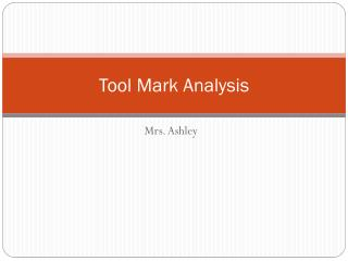 Tool Mark Analysis