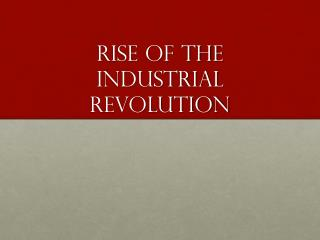 Rise of the industrial revolution