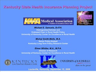 Learning objectives:   1 To increase understanding of the state s uninsured and underinsured population.  2 To understan