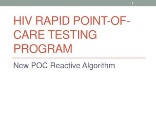 HIV Rapid Point-of-Care Testing Program