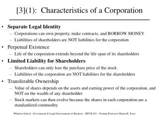 [3](1):  Characteristics of a Corporation