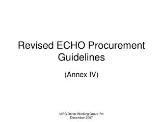 Revised ECHO Procurement Guidelines