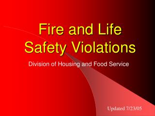Fire and Life Safety Violations