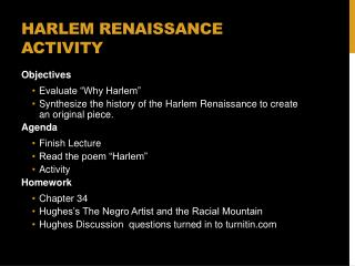 Harlem Renaissance Activity