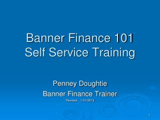 Banner Finance 101 Self Service Training