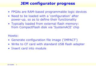 JEM  configurator  progress