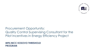 Procurement Opportunity: Quality Control Supervising Consultant for the