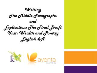 Writing The Middle Paragraphs a nd Explication: The Final Draft Unit: Wealth and Poverty