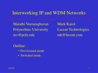 Interworking IP and WDM Networks