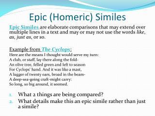 Epic (Homeric) Similes