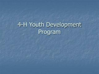 4-H Youth Development Program