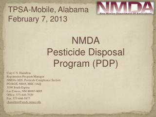 NMDA Pesticide Disposal Program (PDP)