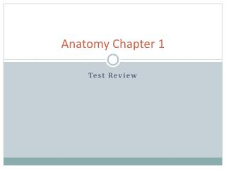Anatomy Chapter 1