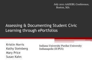 Assessing & Documenting Student Civic Learning through ePortfolios