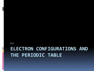 Electron Configurations and The Periodic Table