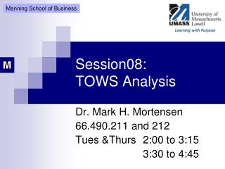 Session08: TOWS Analysis