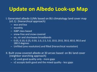 Update on Albedo Look-up Map
