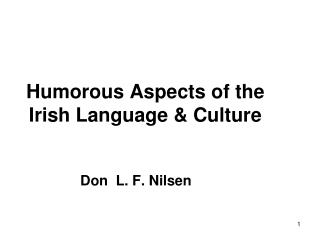 Humorous Aspects of the Irish Language & Culture
