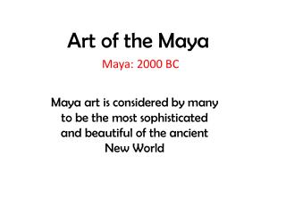 Art of the Maya
