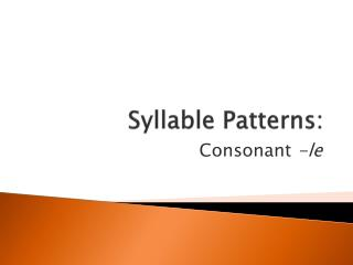 Syllable Patterns: