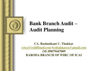 Bank Branch Audit – Audit Planning