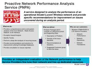Proactive Network Performance Analysis Service (PNPA)