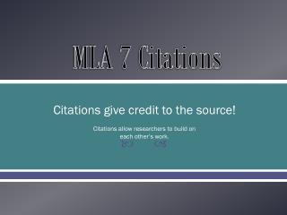 MLA 7 Citations