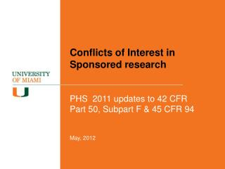 Conflicts of Interest in Sponsored research