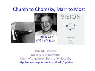 Church to Chomsky, Marr to Most