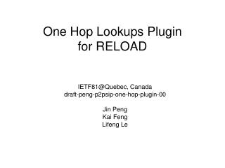 One Hop Lookups Plugin for RELOAD