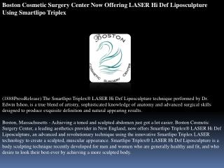 Boston Cosmetic Surgery Center Now Offering LASER Hi Def Lip