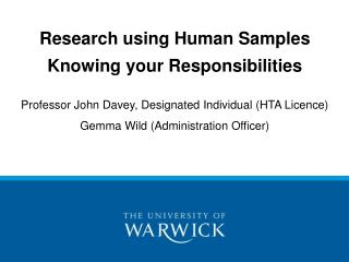 Research using Human Samples Knowing your Responsibilities