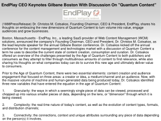"""EndPlay CEO Keynotes Gilbane Boston With Discussion On """"Quan"""
