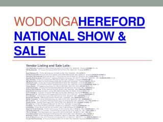 Wodonga Hereford  National Show & Sale