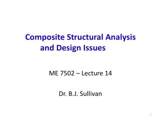 Composite Structural Analysis       and Design Issues