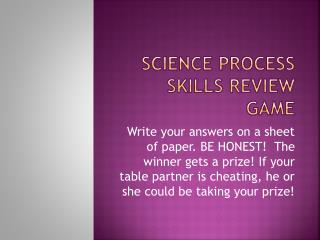 Science Process Skills Review Game