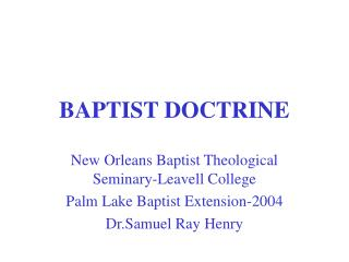 BAPTIST DOCTRINE