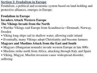 Section 2: Feudalism in Europe