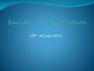 Faculty & Staff Devotion