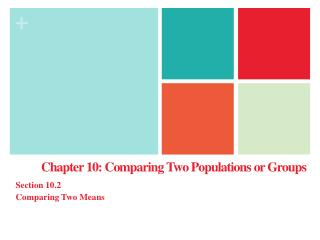 Chapter 10: Comparing Two Populations or Groups