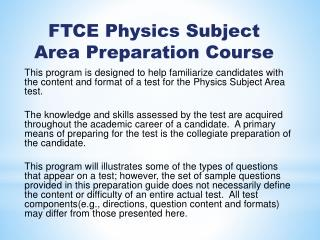 FTCE Physics  Subject Area  Preparation Course