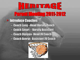 Parent Meeting  2011-2012