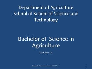 Department of Agriculture School of School of Science and Technology